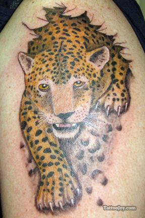 Ripped Skin Leopard Tattoo Image