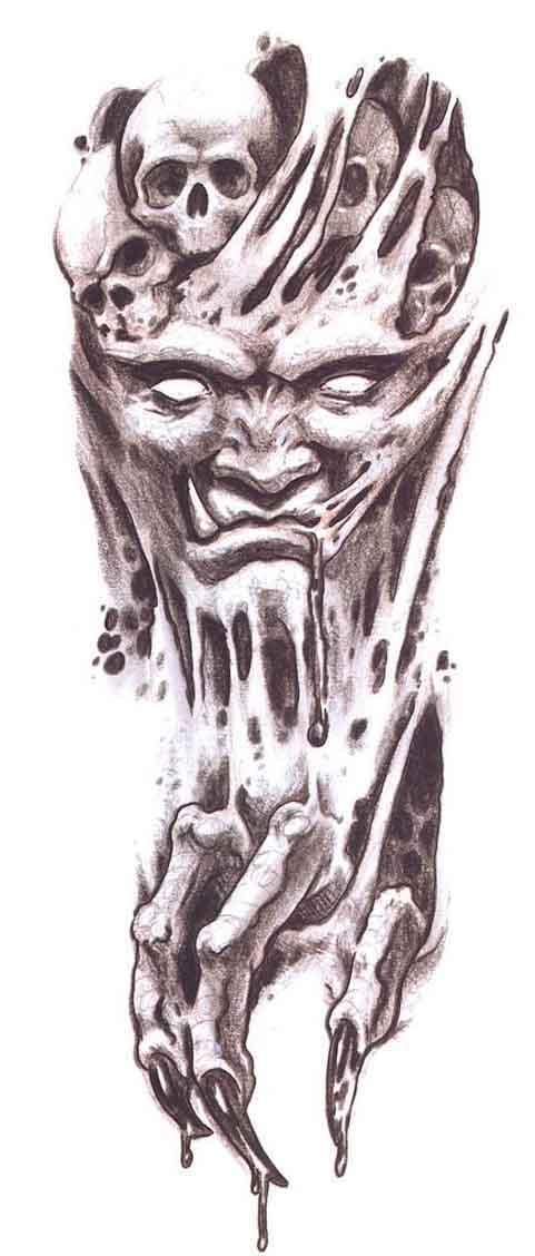 Scary Demon Tattoo Stencil