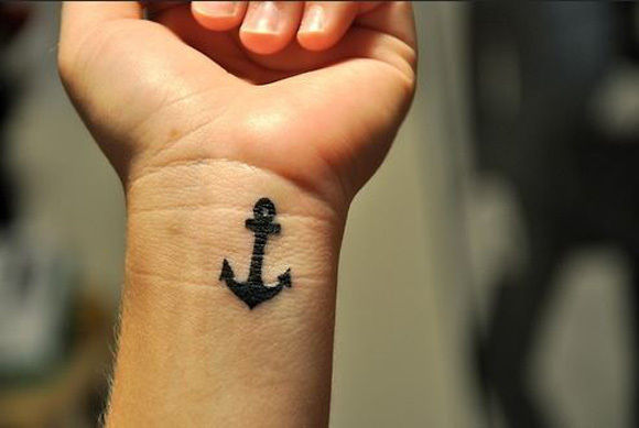 Small Black Anchor Wrist Tattoo Idea