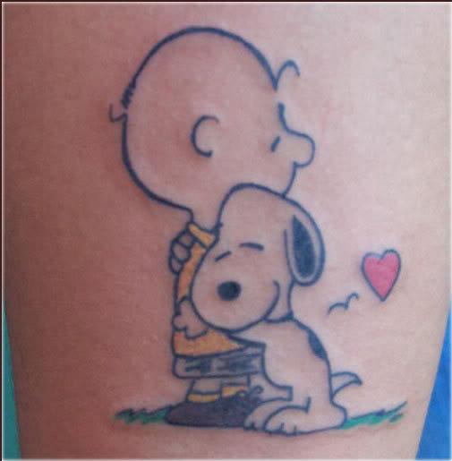 Snoopy Hug Charlie Brown Tattoo