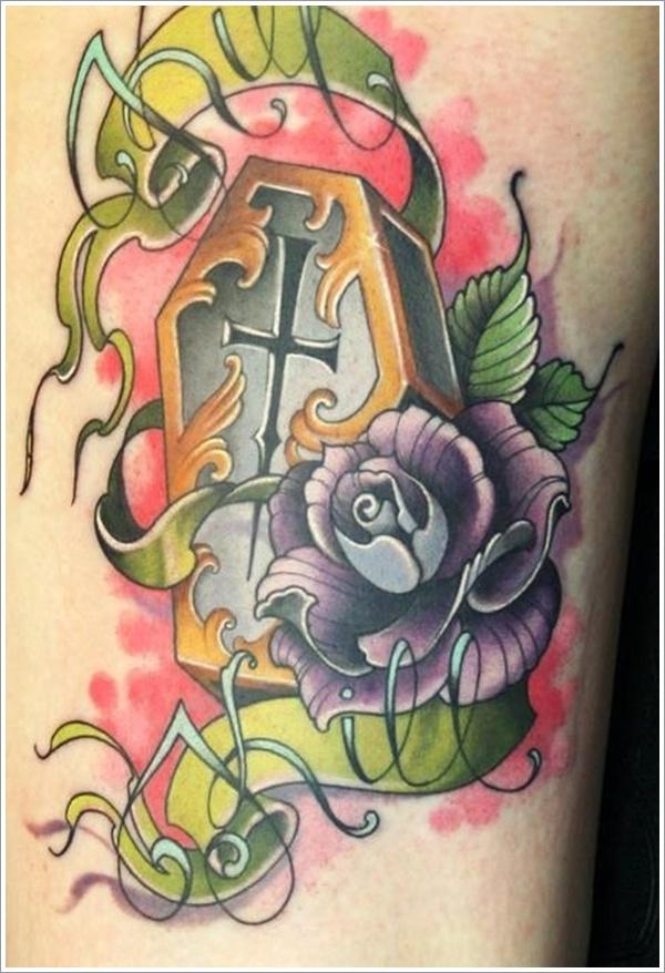 Traditional Coffin Tattoo Design