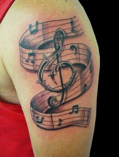Violin Key Music Tattoo On Left Shoulder