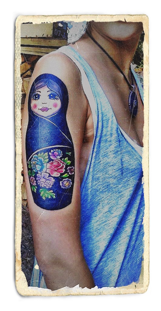 Matryoshka Tattoo On Right Half Sleeve