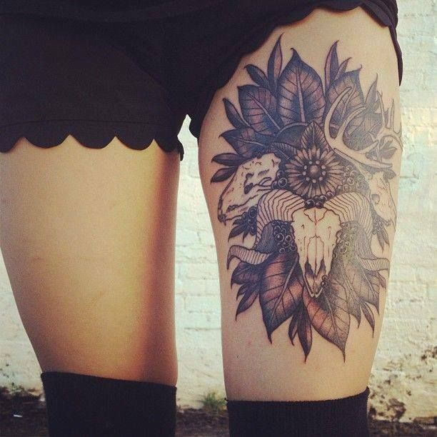 Beautiful Thigh Tattoo Design For Girls