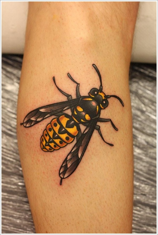 Bee Tattoo Design Idea For Leg