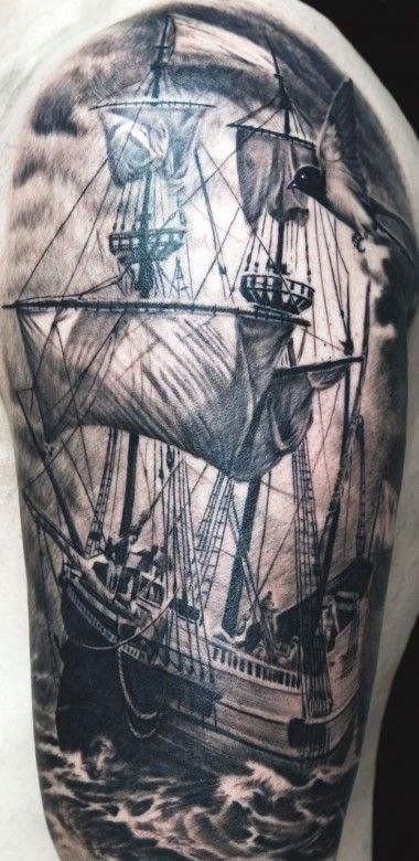 Black And Grey Ship Tattoo On Left Half Sleeve by Remis