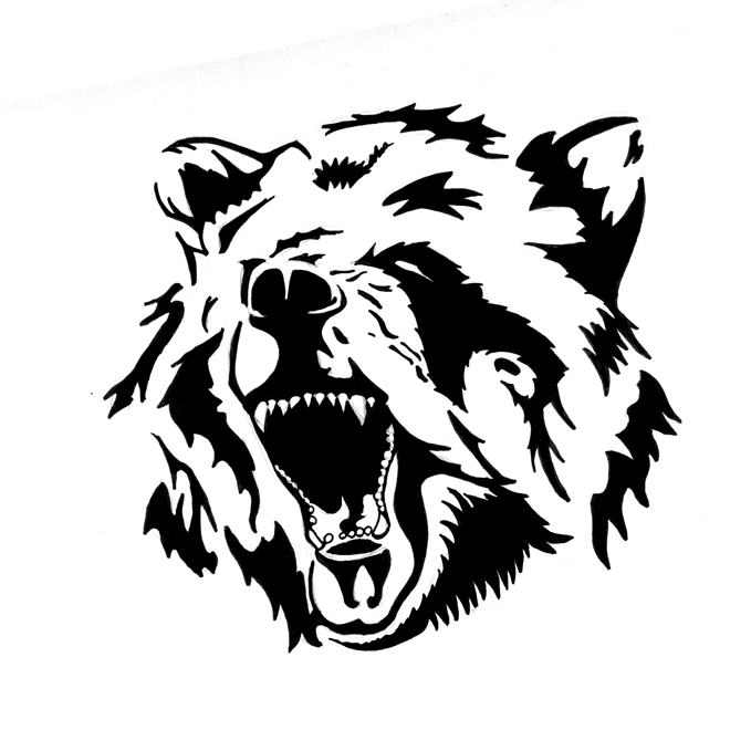 Black Tribal Bear Head Tattoo Design by Pastel Samurai