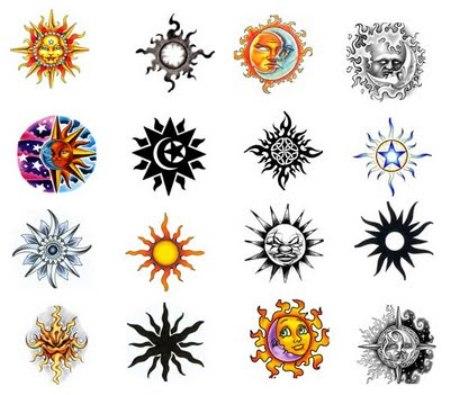 Colorful Sun Tattoo Designs Ideas