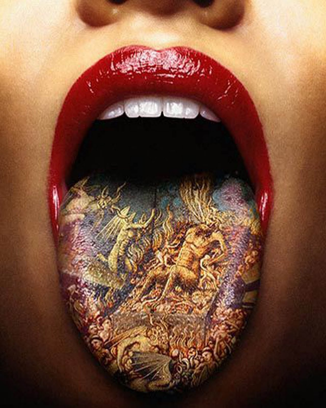 Colorful Tongue Tattoo For Girls