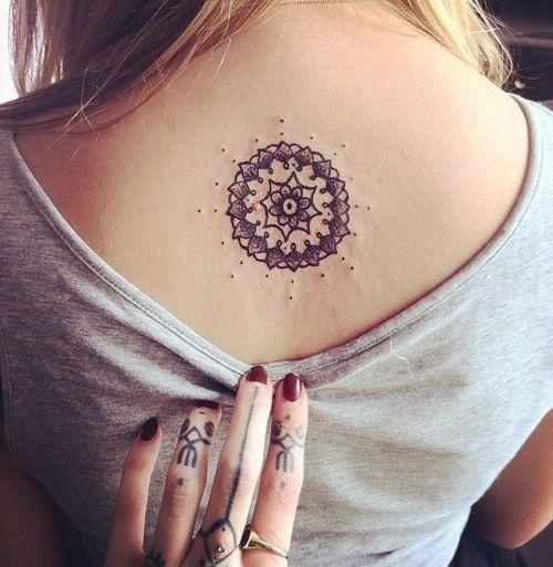 Cute Upper Back Women Tattoo Design