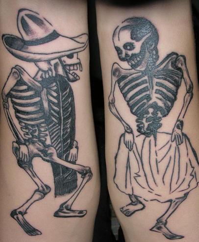 Dancing Skeleton Couple Tattoo Design