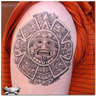 Grey Aztec Tattoo Design On Shoulder