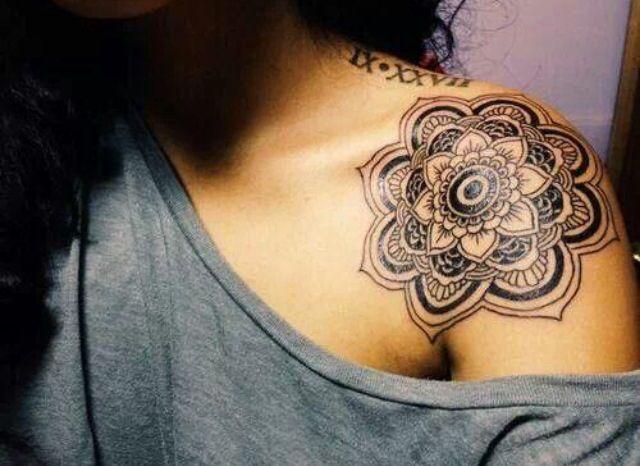 Grey Mandala Flower On Shoulder Tattoo Design Idea