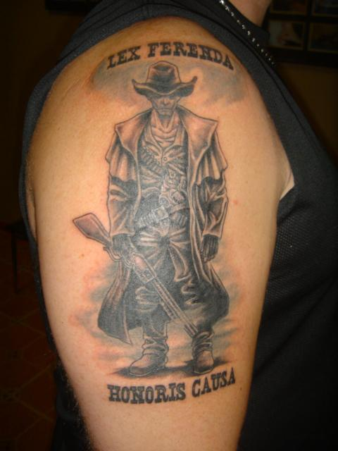 Lex Ferenda Honoris Causa Western Tattoo On Right Half Sleeve