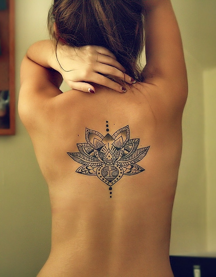Lotus Spiritual Tattoo On Back Body For Girls