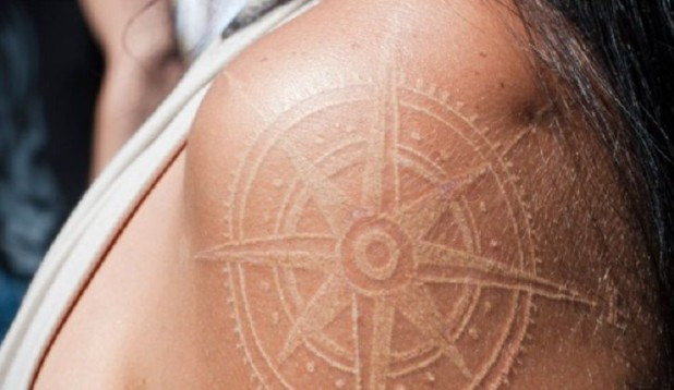 Nautical Compass White Ink Tattoo On Shoulder