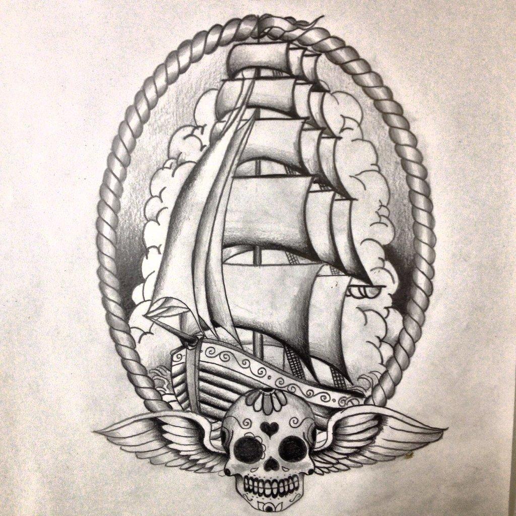 Old School Winged Skull And Ship Tattoo Design Idea by Dazzbishop