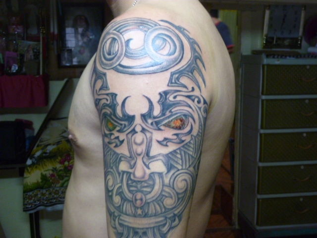 Grey Ink Cancer Zodiac Tattoo On Shoulder