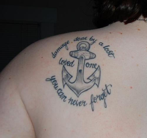 Remembrance Tattoo On Left Back Shoulder For Women