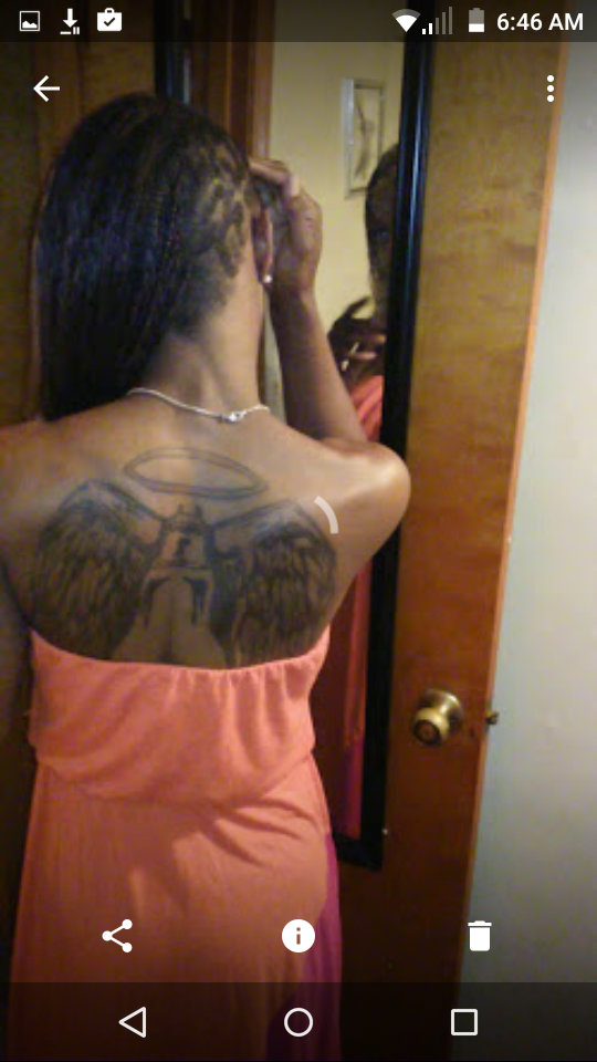 Angel Wings Tattoo On Girl Upper Back