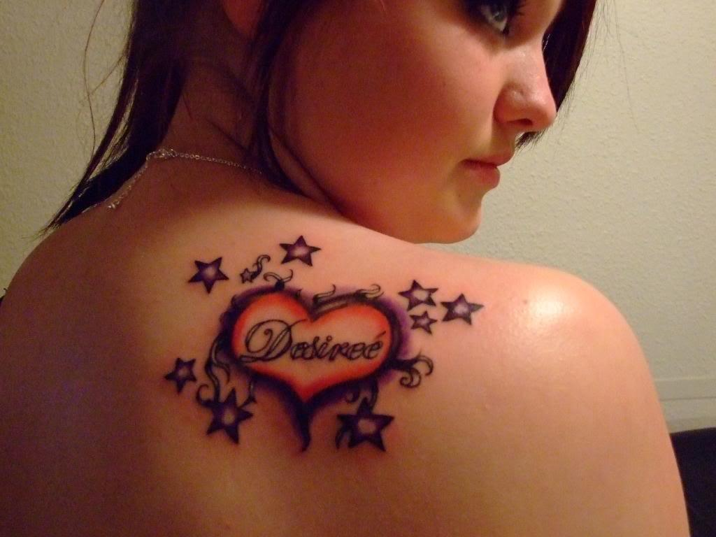 Stars And Heart Women Tattoo On Right Back Shoulder