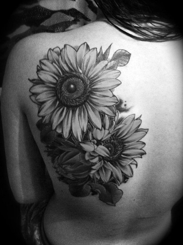 Sunflower Tattoos On Left Back Shoulder