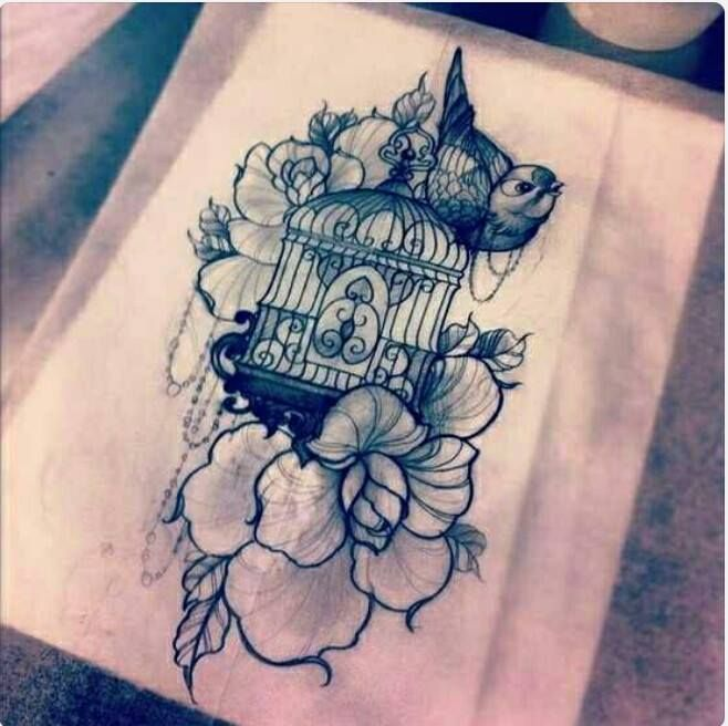 Traditional Thigh Tattoo Design Idea