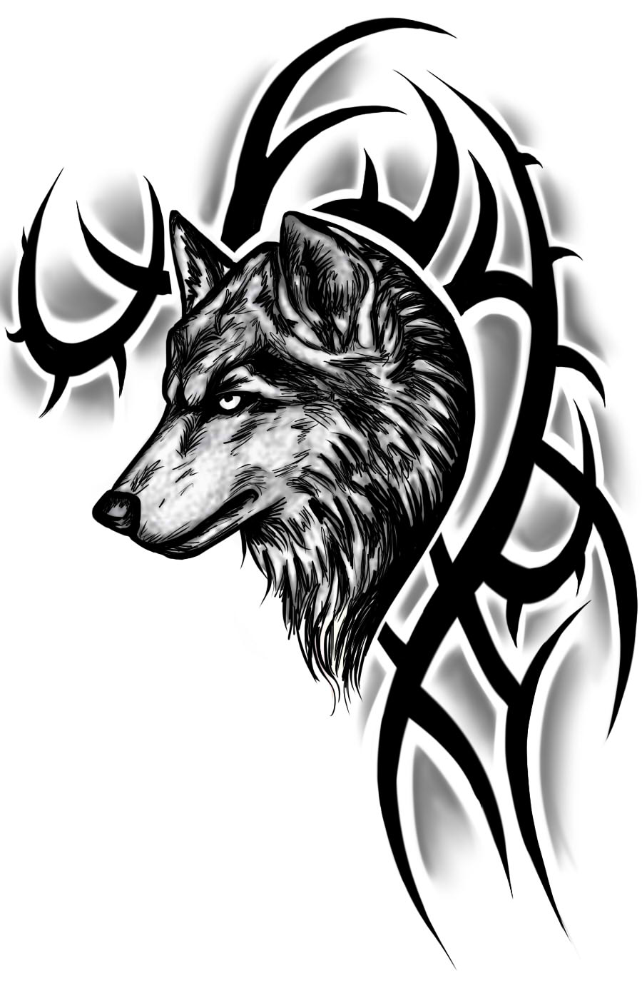 2dcc860fa1307 Tribal And Wolf Head Tattoo Design Idea