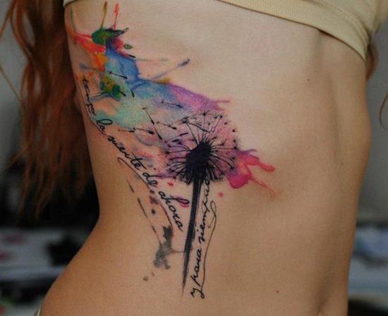 Watercolor Dandelion Puff Rib Tattoo Image