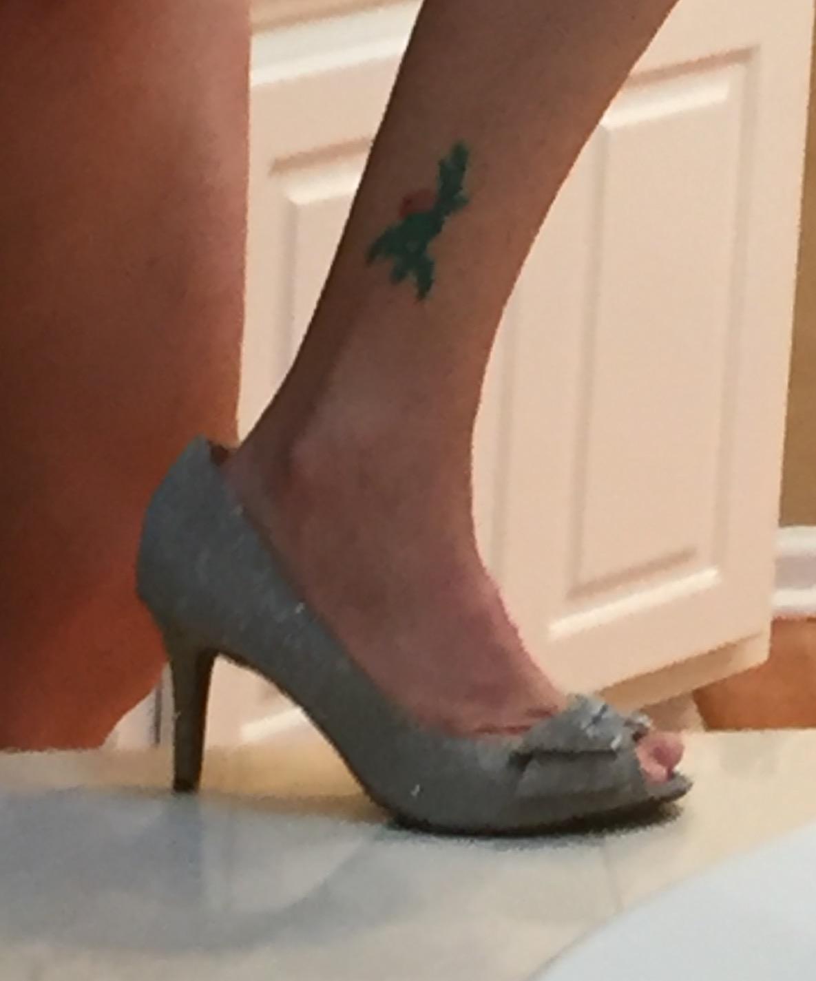 Scottish Small Flower Tattoo On Leg
