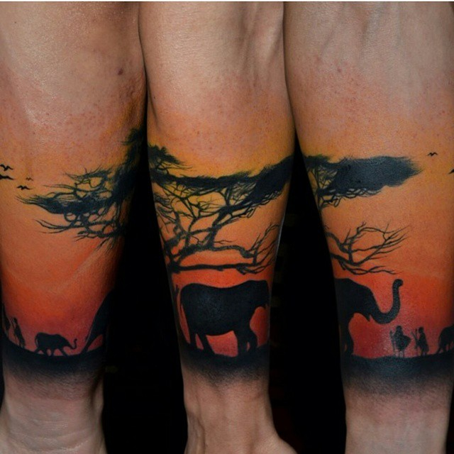 African Forest Evening Scene Tattoo On Arm