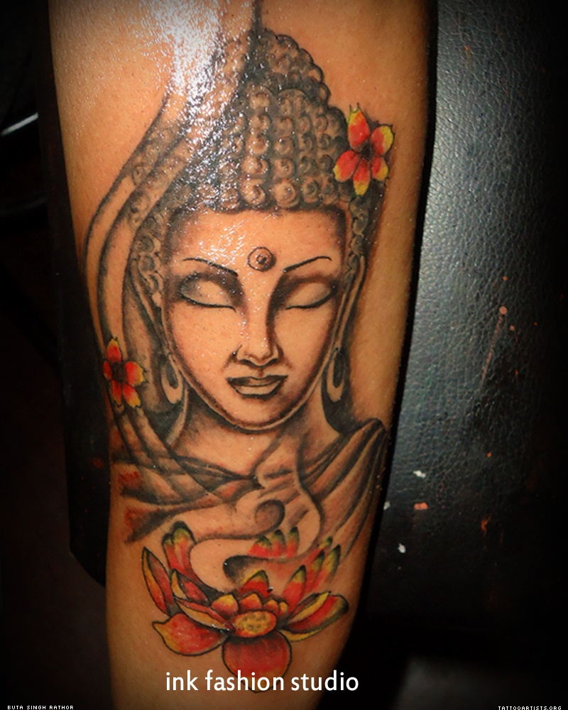 Amazing Flower And Buddha Tattoo On Sleeve