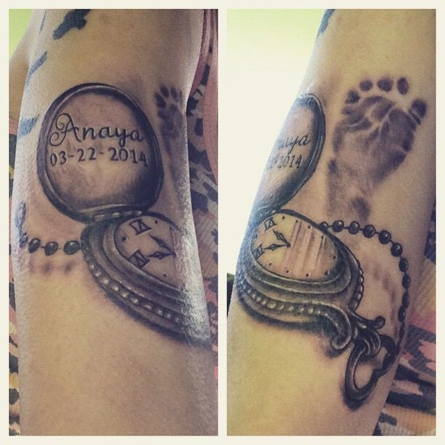 Baby Feet And Memorial Baby Name In Pocket Watch Tattoo