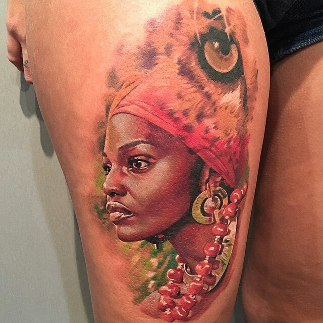 Beautiful African Girl Tattoo On Thigh