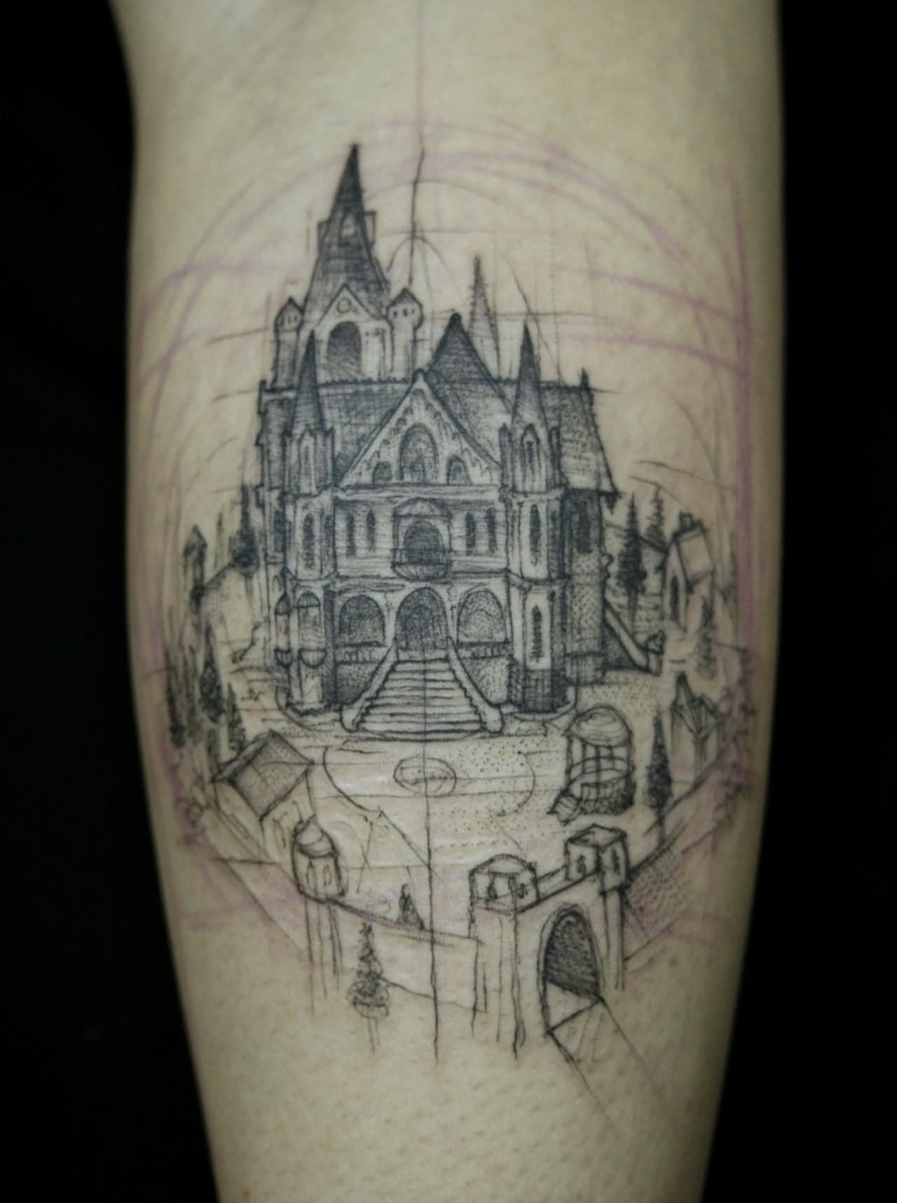 castle tattoo images & designs