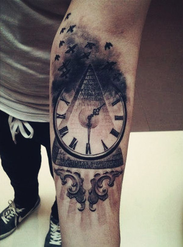 Black And Grey Clock Tattoo On Left Arm
