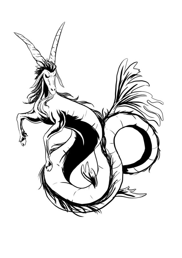 Black And White Capricorn Tattoo Design