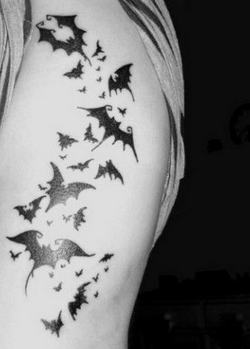 Black Ink Bat Tattoos On Side Rib