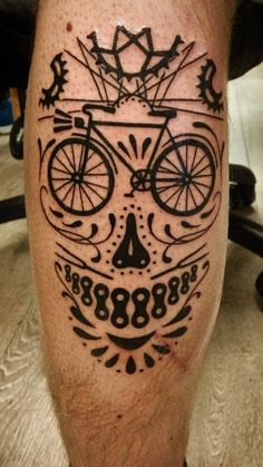 Black Ink Bike Tattoo On Leg Calf