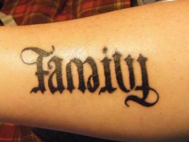Black Ink Family Ambigram Tattoo