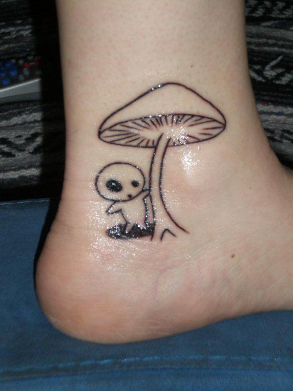 Black Line Mushroom Tattoo On Foot