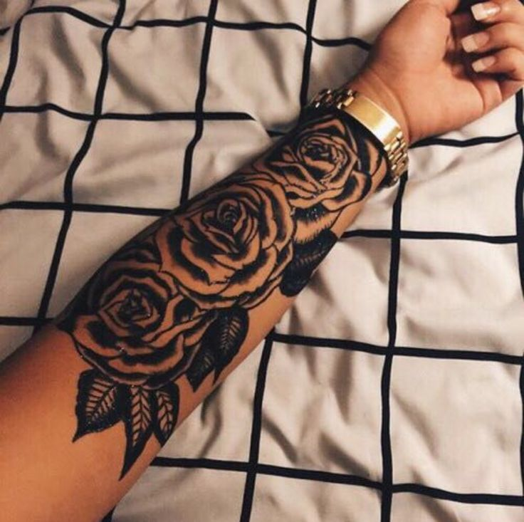 Black Rose Tattoos On Left Forearm