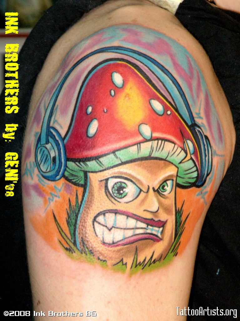 Cartoon With Mushroom Head Tattoo On Half Sleeve
