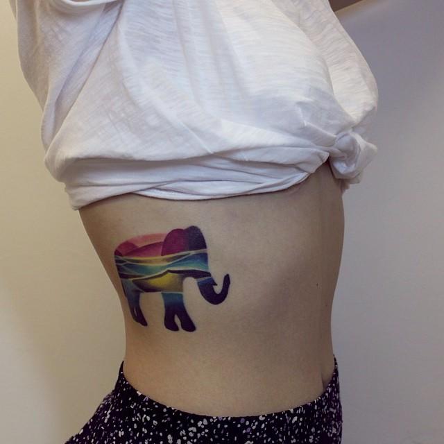 Colorful Elephant Tattoo For Girls By Sasha Unisex