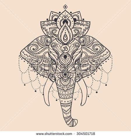 Geometric Elephant Head Tattoo On Forearm