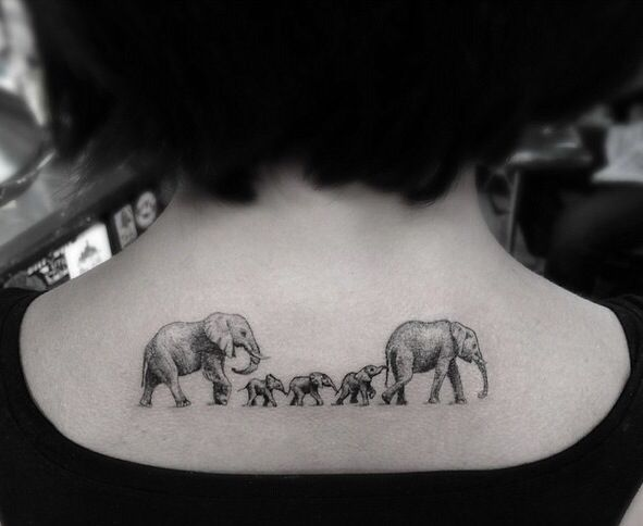 Cute Elephant Family Tattoo On Upper Back