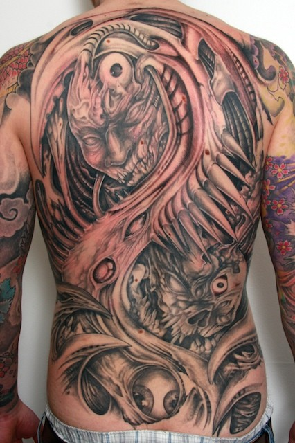 Demon monster tattoo back-piece by graynd