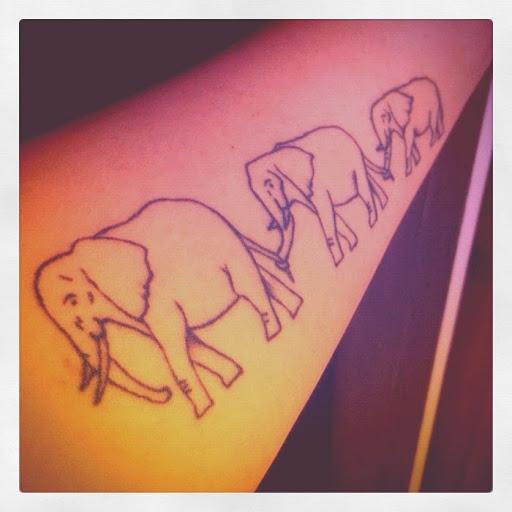 Elephant Family Tattoo On Forearm