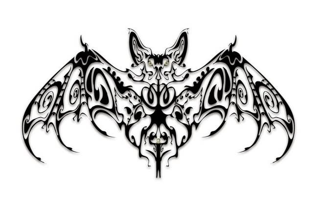 Fantastic Black Tribal Bat Tattoo Design
