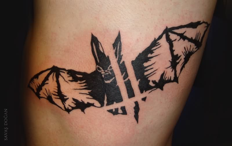Flying Angry Black Bat Tattoo